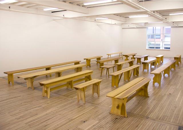"""Francis Cape: Utopian Benches,"" installation view at Murray Guy (photo via murrayguy.com)"