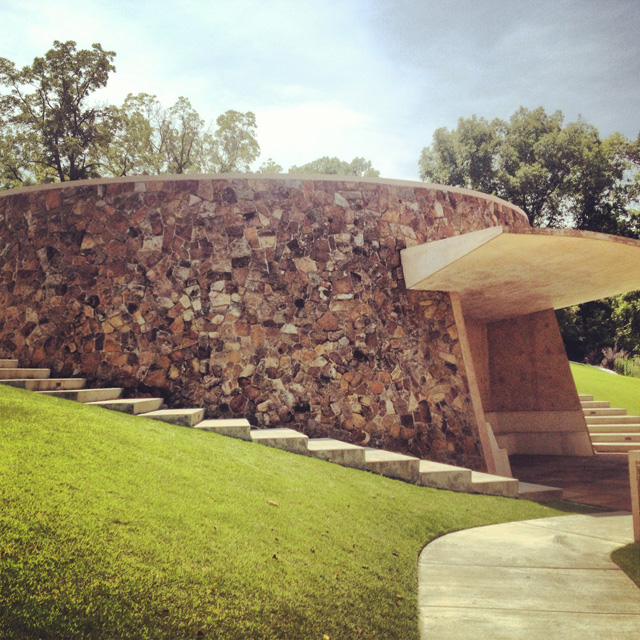 """James Turrell's """"Skyspace: The Way of Color"""" on the grounds of Crystal Bridges"""