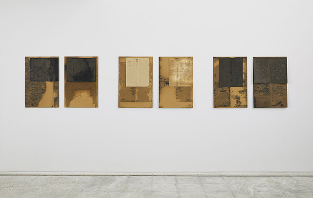 """Dorothea Rockburne, """"Study for Scalar"""" series, C through H (1970), nails, crude oil, chipboard, and paper; each: chipboard, 30 x 20 in (76.2 x 50.8 cm), paper, 16 3/4 x 13 in"""