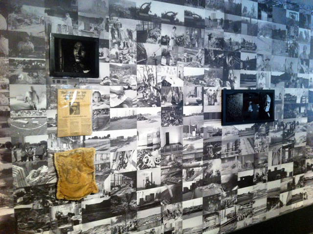 LaToya Ruby Frazier, installation view of site-specific wallpaper (2013) at the Brooklyn Museum (all photos by the author for Hyperallergic)