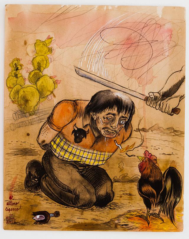 """Raúl Gonzalez, """"El Ultimo Cigarro"""" (2012), mixed media on paper"""