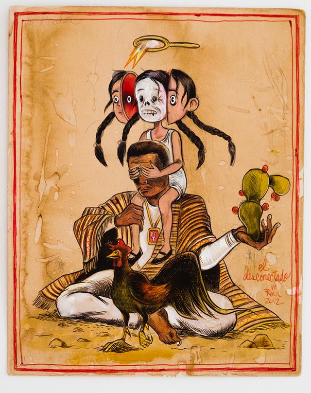 """Raúl Gonzalez, """"El Desconectado"""" (2012), mixed media on paper"""