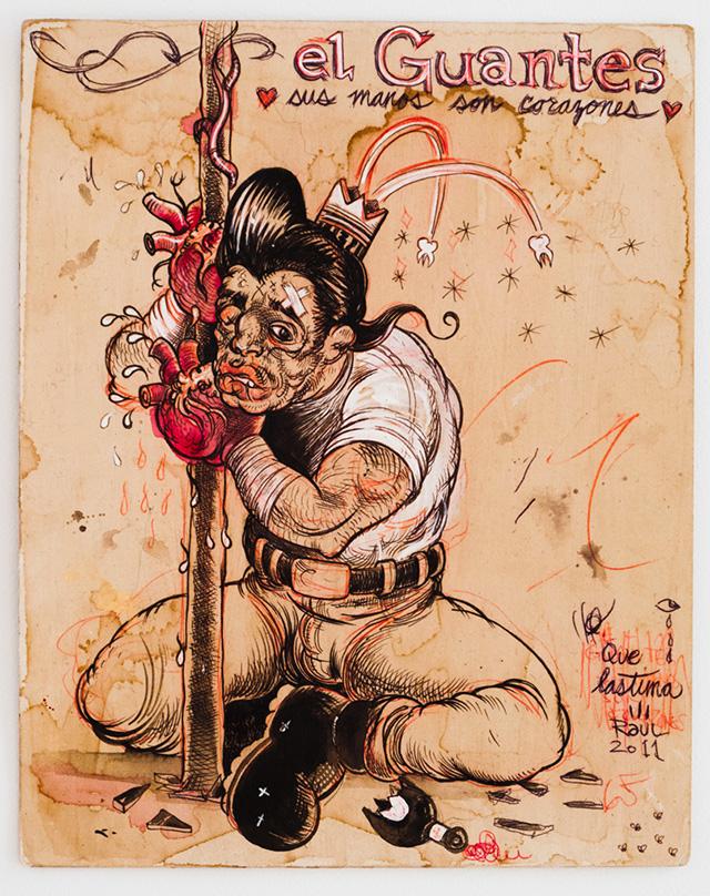 """Raúl Gonzalez, """"Los Guantes"""" (2012), mixed media on paper"""