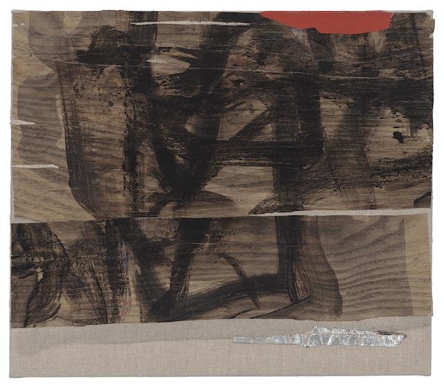 "Little Nomad 4, 2013, 13 x 15"", aluminum tape, Flashe, ink, pencil, wood veneer on linen"