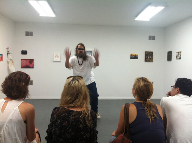 """Michael Mahalchick performing """"Picasso Baby"""" at Louis B. James (all photos by the author for Hyperallergic)"""