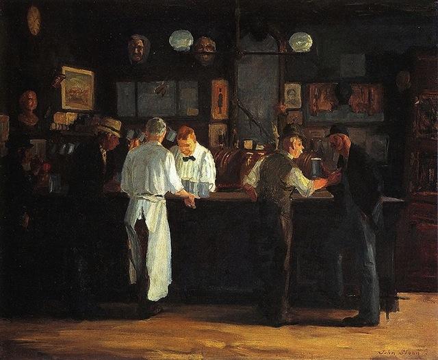 """John Sloan, """"McSorley's Bar"""" (1912) (image via DIA Detroit)"""