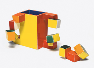 """Ken Price, """"Untitled Cup (Geometric Cube Cup and Object)"""" (1974), painted and glazed ceramic, cup: 4 x 6 ½ x 4 ½ in, object: 2 x 3 ¼ x 1 ½ in (The Menil Collection, Houston, Bequest of David Whitney) (© Ken Price, photo © Fredrik Nilsen, courtesy Metropolitan Museum) (click to enlarge)"""