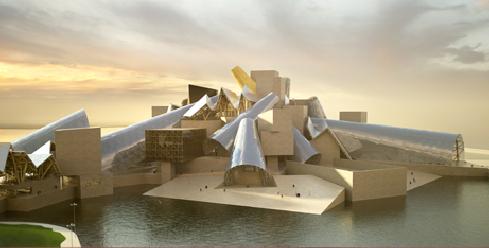 An artist's rendering of the proposed Guggenhaim Abu Dhabi by Frank Gehry (image via saadiyat.ae)