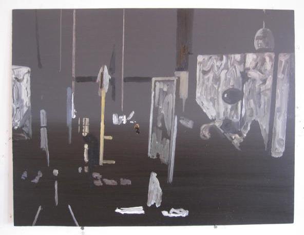 A painting in Richard Walker's studio
