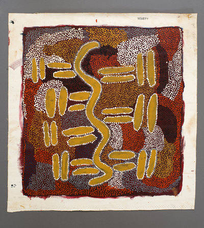 A painting on canvas from Yuendumu, Northern Territory by Topsy Nampijinpa showing Ngapa Dreaming (water).