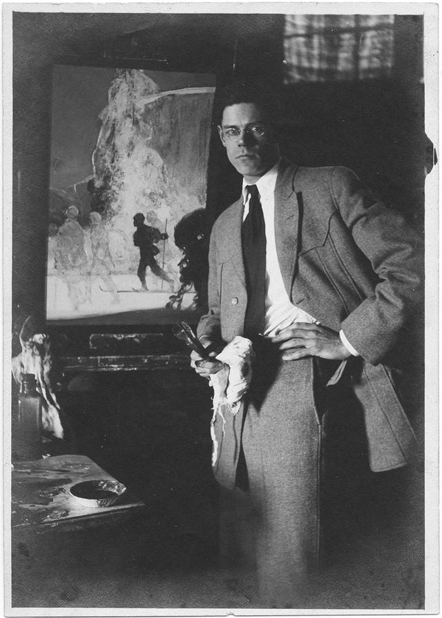 Painter Charles Shepard Chapman in his studio (ca. 1920) (via Smithsonian Institution)