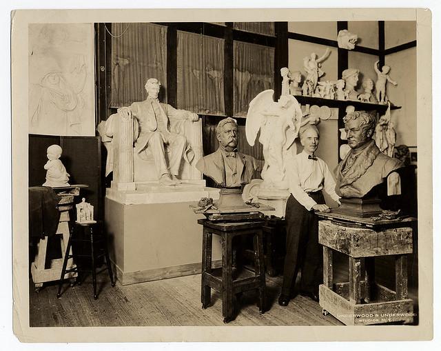 Sculptor Daniel Chester French in his Massachusetts studio (ca. 1920) (via Smithsonian Institution)