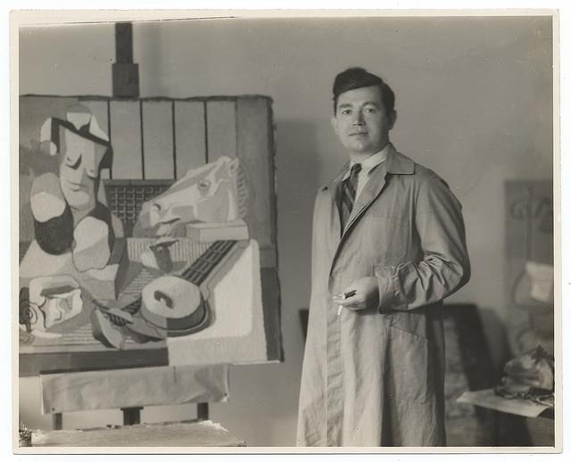 Jan Matulka in his studio (ca. 1920) (photograph by M. Vu Kovic, via Smithsonian Institution)