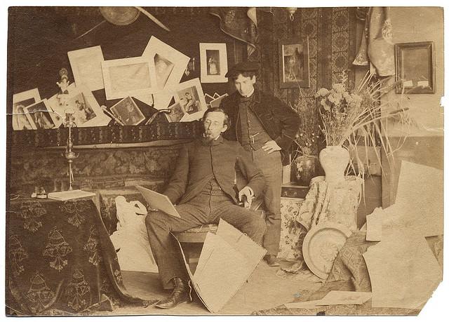 Painters Edmund Clarence Messer and Blayden Tasker Snyder in a Paris studio (ca. 1884) (via Smithsonian Institution)