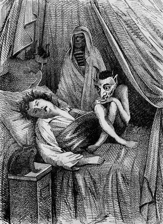 The frontispiece to a book on dreams and spirits, illustrated by Friedrich Voigt Leipzig (1854) (via Wikimedia)