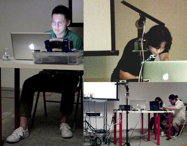 """Clockwise from left: Sampson Young performs Pulse Radio II – Homage to Nicolas Collins (Debussy's Arabesque No. 1)""""; """"TranSonic201"""" by Wang Fujui; PADA collective Chiang Chien-Hsin+Liao Chien-Chiao"""