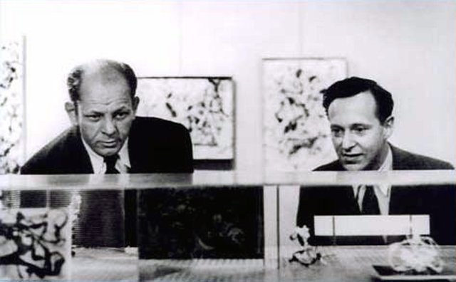 Jackson Pollock and Peter Blake viewing the model of Blakes Ideal Museum for a small city at Betty Parsons Gallery