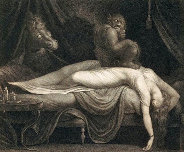 "Thomas Burke's engraving of Fuseli's ""The Nightmare"" (1783) (via Tate Modern)"