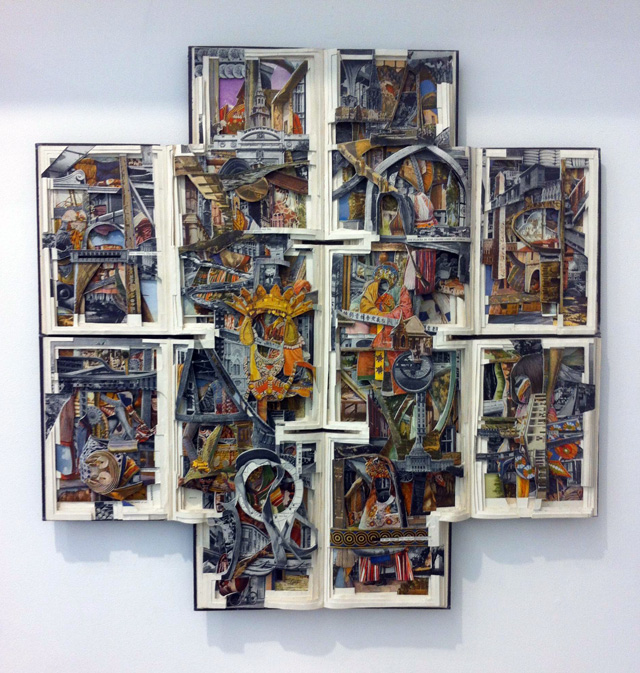 "Brian Dettmer, ""Lands and Peoples"" (2011), hardcover books, acrylic varnish, 30 x 30 x 2.5 in"