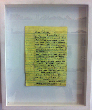 "Simon Evans, ""Letter to the Future"" (2010), paper, tape, pen, 7.5 x 5 in (click to enlarge)"