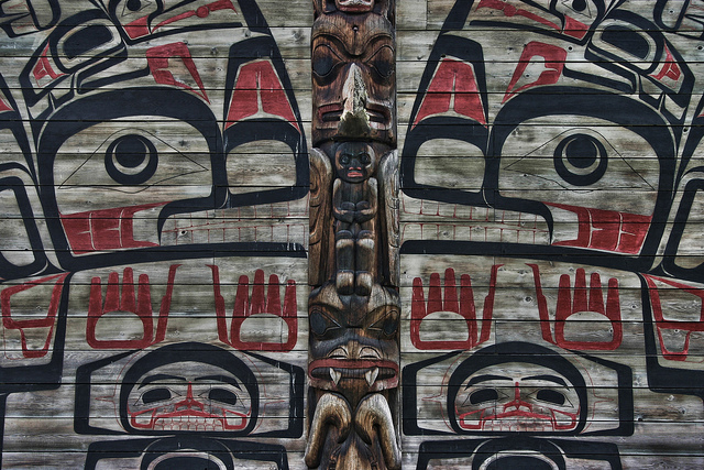 Traditional formline art on the Kitanmaax School of Northwest Coast Indian Art (photograph by Brodie Guy, via Flickr)