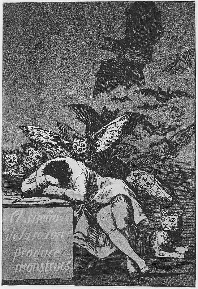 "Francisco Goya's ""The sleep of reason brings forth monsters"" (1799) (via Wikimedia)"