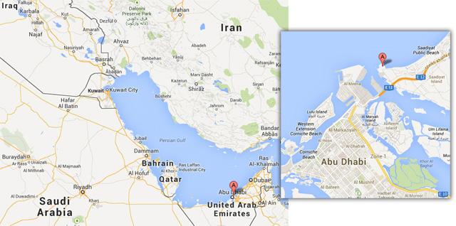 The location of Guggenheim Abu Dhabi (original images via Google Maps)