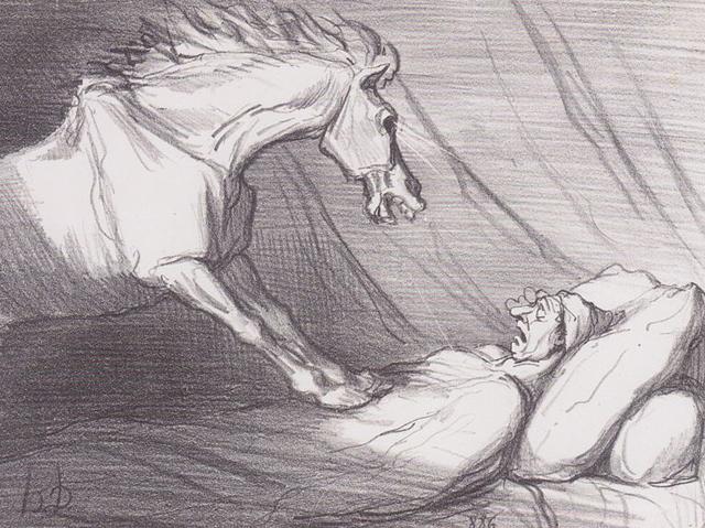 Honoré Daumier's drawing of a nightmare (1856) (via Wikimedia)