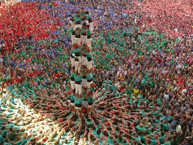 A human tower at the Concurs de Castells in 2012 (photograph by Joan Grífols)