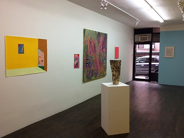 """""""Summer Acid"""" installation view, with works by Eric Shaw, Katie Cercone, Ben Noam, Cody Hoyt (sculpture), Geoffrey Todd Smith, and John Bohl (image via dcktcontemporary.com)"""