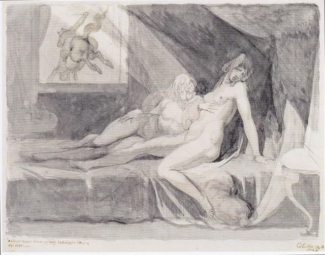 "Henry Fuseli , ""The Incubus Leaving Two Sleeping Women"" (1810) (via Kunsthaus Zürich_"