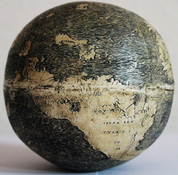 Ostrich egg globe (courtesy Washington Map Society)