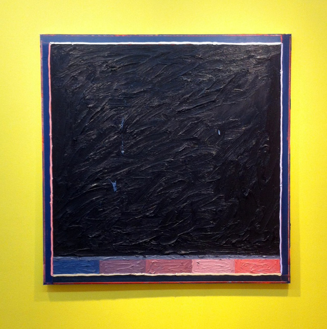 "Russell Tyler, ""Spectrum to Black"" (2013), oil on canvas, 36 x 36 in (photo by the author for Hyperallergic)"