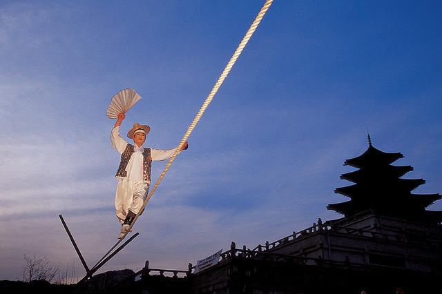 Jultagi tightrope walker in South Korea (via Korea.net)