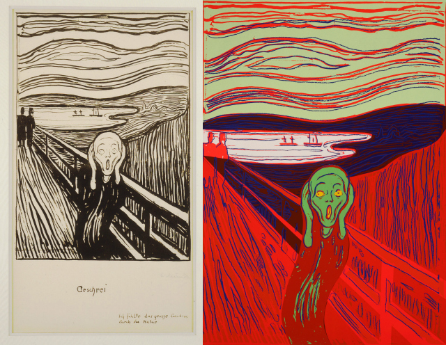 """Edvard Munch, """"The Scream"""" (1895), lithograph in black on heavy white wove paper, 13 3/4 x 9 3/4 (Catherine Woodard and Nelson Blitz Jr. © 2013 The Munch Museum/The Munch-Ellingsen Group/Artists Rights Society, New York); Andy Warhol, """"The Scream (After Munch)"""" (1984), screenprint on Lenox Museum Board, 40 x 32 (The Andy Warhol Museum, Pittsburgh, Founding Collection, Contribution of The Andy Warhol Foundation for the Visual Arts, Inc. © 2013 The Andy Warhol Foundation for the Visual Arts, Inc. / Artists Rights Society Artists Rights Society (ARS), New York 1998.1.2548 (ARS), New York)"""