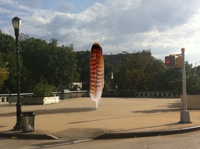 """Petros Chrisostomou, digital rendering of """"Sky Feather"""" public art project at 124th & 125th streets in Harlem"""