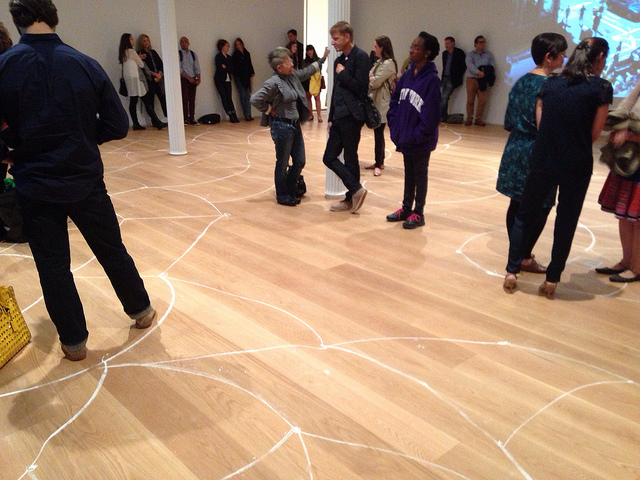 """The chalk drawings on the floor of the Drawing Center's main gallery for Susan Hefuna and Luca Veggetti's """"NOTATIONOTATIONS"""" (2013) (all images by the author for Hyperallergic)"""