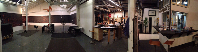 A panoramic view of the new Pandemic Gallery with the gallery space (on left) and the shared studio (right). (click to enlarge)