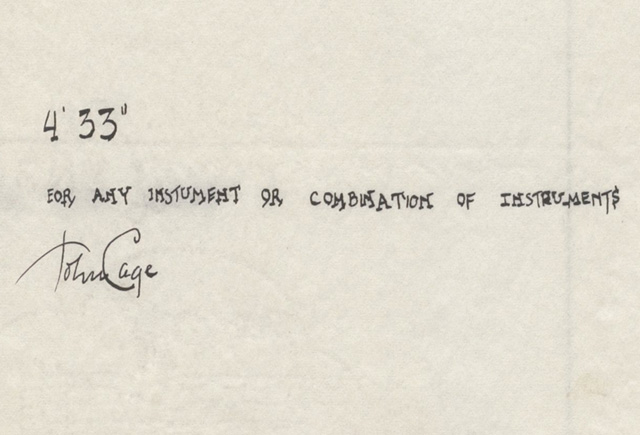 """John Cage, """"4'33"""" (In Proportional Notation)"""" (1952/1953), ink on paper, each page: 11 x 8 1⁄2"""" (27.9 x 21.6 cm). The Museum of Modern Art, New York. Acquired through the generosity of Henry Kravis in honor of Marie-Josée Kravis, 2012. © 2013 John Cage Trust (all images courtesy MoMA)"""