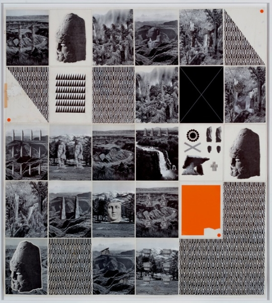 """Matthew Craven, """"Explorers I (Unclassified)"""" (2013), ink, graphite & found book pages on found paper (via dcktcontemporary.com)"""