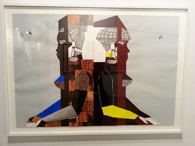 A Derrick Adams collage at Rhona Hoffman Gallery