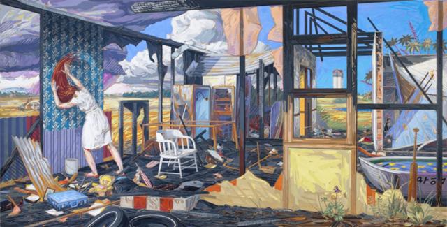 "Brian Adam Douglas, ""A Sort of Homecoming"" (2011), cut paper on birch panel with UVA varnish, 36 x 71 in (via andrewedlin.com)"