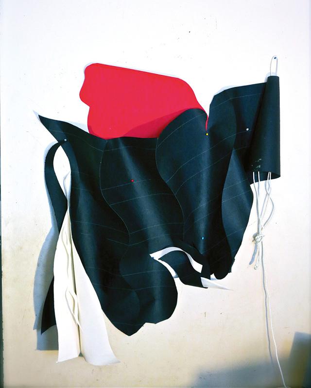 "Carl E. Hazlewood, ""Angel (Wall Crawler)"" (2012), tar paper, paper, push pins, and nylon cord, 72 × 48 in (via bombsite.com)"