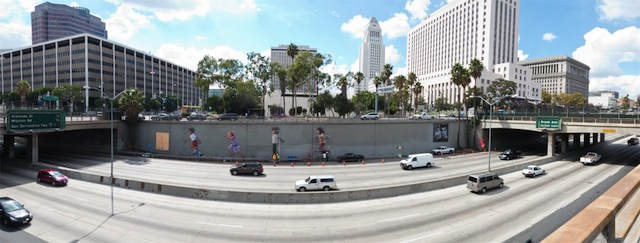 A restoration in progress of Glenn Avila's iconic Freeway Kids mural. Photo by Daniel Aguilar, via Notes on Looking.