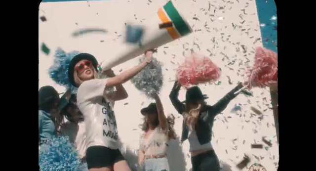 """Still from Taylor Swift's music video """"22,"""" which is not a group selfie (screengrab via YouTube)"""