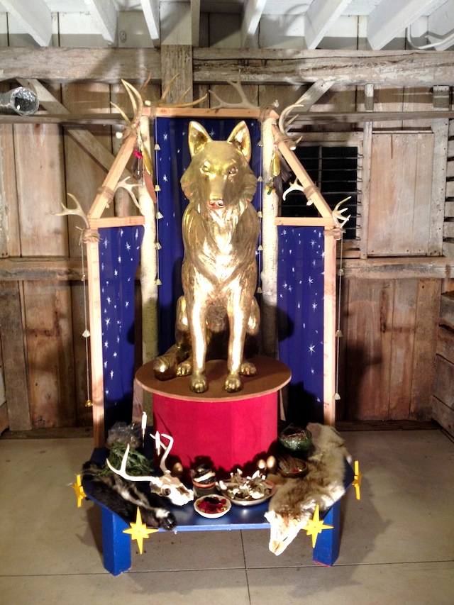 """Wolf altar installation in Deke Weaver's """"The Unreliable Bestiary"""" (2013). Image courtesy of the author for Hyperallergic."""