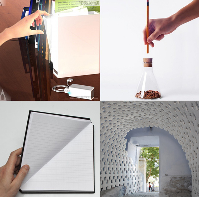 Some of the other A' Design winners, including (clockwise from top left)  Booklight by Kahyun Kim , Acutor a Pencil Sharpener by Jaeryong Lee, Daphne Installation by Fumio Hirakawa, and Triangle Notebook Notebook by Tan Mavitan.