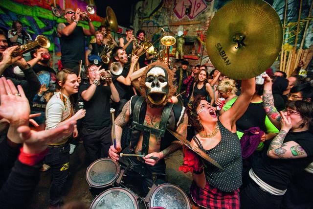 What Cheer? Brigade performing at C-Squat, Alphabet City, Manhattan, 2012