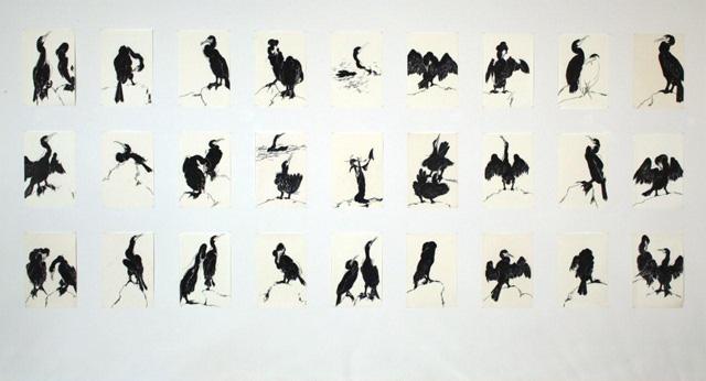 """Pat de Groot, """"Cormorants"""" (1990–92), 27 drawings, sharpie felt marker,18"""" x 14"""" (courtesy the artist)"""