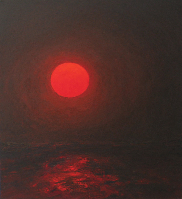 """Pat de Groot, """"Red Moon in June"""" (2008), oil on board, 12 """" x 11"""" (all photoscourtesy Albert Merola Gallery unless otherwise noted)"""